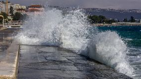 Landscape view of waves hitting shore. Lungomare Seaside Promen stock photography