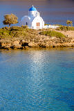 Landscape view of white church at mediterranean beach, Amorgos Royalty Free Stock Photo