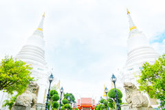 Landscape view with white pagoda in Wat Phichaiyatikaram temple, Royalty Free Stock Images