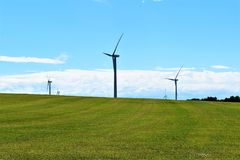 Wind turbines in rural countryside, Town of Chateaugay, Franklin County, New York United States royalty free stock photography