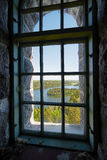 Landscape view  through a window Stock Image
