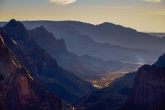Landscape view of Zion national park valley from Observation point, Utah Stock Photos