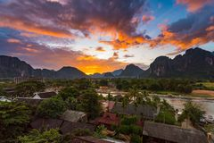 Landscape Viewpoint and beautiful sunset at Vang Vieng, Laos. Landscape Viewpoint and beautiful sunset at Vang Vieng, Laos royalty free stock image