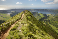 Landscape viewpoint with lakes in Sao Miguel island. Azores. Por Stock Photography