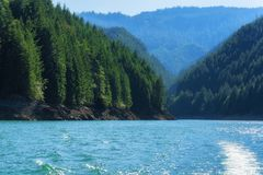 Detroit lake seen from boat. Landscape views seen from a boat on Detroit Lake, Oregon reservoir in the Cascade Range Royalty Free Stock Photography