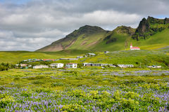 Landscape of Vik village, Iceland with Myrdal Church Royalty Free Stock Images