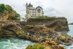 Villa Beltza, a 19th century neo-medieval style house on the cliffs of the rocky coastline of Biarritz, French Basque Country - stock photo