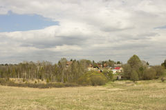 Landscape. The village is on a hill. Spring. Russia Stock Photos