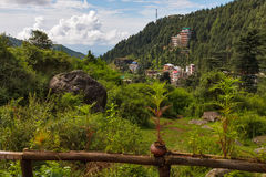 Landscape of village in Himalaya. Green hilly village landscape of Dharamcot, India stock photography