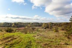 Landscape with village houses stock illustration
