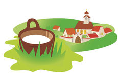 Landscape_village_milk. Landscape in Central Europe with old village and ewer with  milk. Vector illustration available for download Royalty Free Stock Photos