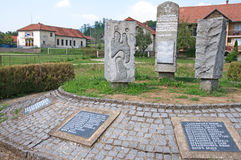 Landscape of village monument to killed in World Wars, Serbia Stock Photography