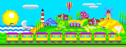 Landscape village. Morning landscape train in the village Royalty Free Stock Photo
