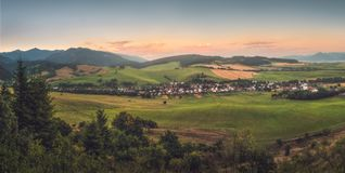 Hilly Landscape at Sunset Royalty Free Stock Image