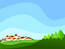 Landscape with village and surrounding countrysid. Vector illustration depicting a landscape with village and surrounding countryside Royalty Free Stock Images