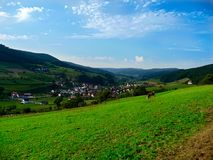 The landscape of the village with a vineyard, forest, hills. Schwarzwald. Germany. royalty free stock image