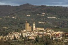 Leonardo da Vinci`s town in Tuscany Italy. Landscape of Vinci town in Tuscany, Italy, place of birth of Leonardo da Vinci royalty free stock image