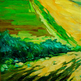 Landscape with a vineyard. Painting by oil on canvas Stock Photo
