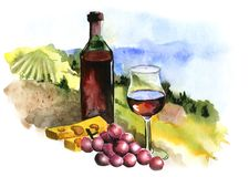 Landscape with vineyard, vintage pattern, Beaujolais Nouveau, watercolor Royalty Free Stock Photo