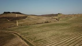 Landscape of the vineyards of Tuscany in Italy during spring time. The wine route. Of Chianti stock footage