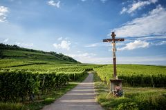 Landscape vineyards of wine route. France, Alsace. Alsace, wine road. An example of how peasant culture is related to religion Stock Image