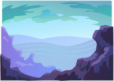 Landscape violet mountains for animation Royalty Free Stock Images