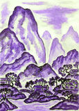 Landscape with violet mountains, painting Stock Image