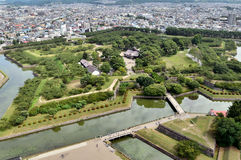 Landscape visible from the tower Goryokaku. Royalty Free Stock Photography