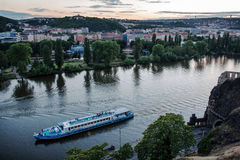 Landscape of Vltava river from Vysehrad in early evening, Prague Stock Photos