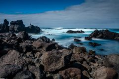 Landscape from the Volcanic Beach of Mosteiros in Sao Miguel, Az stock photo