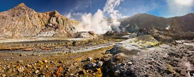 Landscape of volcanic White Island, New Zealand. Landscape of volcanic White Island in New Zealand, volcanic land in Australasia royalty free stock photo
