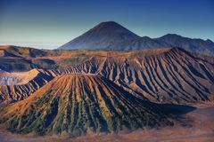 Landscape of Volcano Erupting at Sunrise Scene., Natural Scenery of Crater Mount at Bromo Tengger Semeru National Park, Indonesia. Travel Destination and stock photography