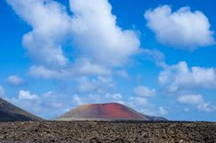 Landscape of volcanoes and solidified lava in Timanfaya national park. In Lanzarote royalty free stock photo