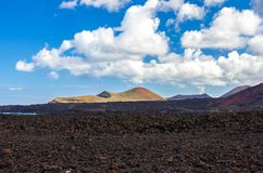 Landscape of volcanoes and solidified lava in Timanfaya national park. In Lanzarote stock image