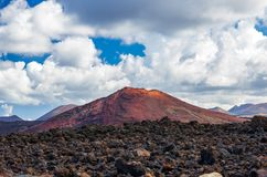 Landscape of volcanoes and solidified lava in Timanfaya national park. In Lanzarote stock images