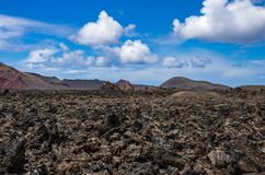 Landscape of volcanoes and solidified lava in Timanfaya national park. In Lanzarote stock photography