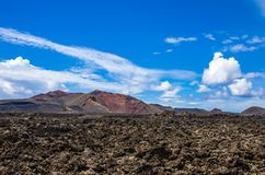 Landscape of volcanoes and solidified lava in Timanfaya national park. In Lanzarote stock photo