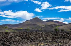 Landscape of volcanoes and solidified lava in Timanfaya national park. In Lanzarote royalty free stock photos