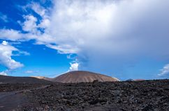 Landscape of volcanoes and solidified lava in Timanfaya national park. In Lanzarote royalty free stock image