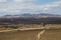 Landscape of Volubilis, Morocco. Landscape of the the ruins of Volubilis including the country side around it, Morocco Stock Photos