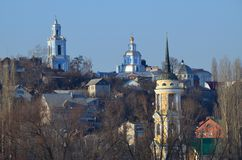 Landscape of Voronezh city right bank overlooking the churches Royalty Free Stock Images