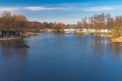 Landscape on a Vorskla river at fall morning in Ukraine Stock Photos