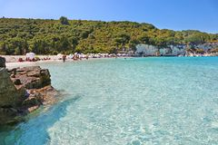 Landscape of Voutoumi beach at Antipaxos island Greece Royalty Free Stock Images