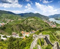 Landscape of Wachau valley and little town Spitz. Austria. Landscape of Wachau valley and little town Spitz. Lower Austria stock photography