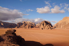 Landscape in Wadi Rum desert Royalty Free Stock Photo