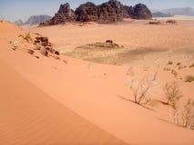 Landscape of Wadi Rum desert in Jordan stock photo