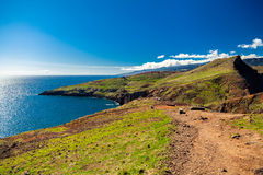 Landscape with walking path at Ponta do Sao Lourenco Royalty Free Stock Photography