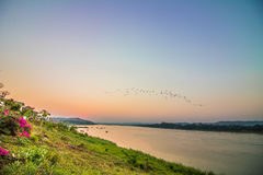 River and evening sky. Walking people walking street at Chiang Khan pedestrian street, Chiang Khan Chiang Khan district, Loei people like to walk in the evening Royalty Free Stock Image