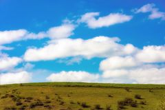 Landscape wallpaper. Blue cloudy sky. Summer landscape Stock Photo