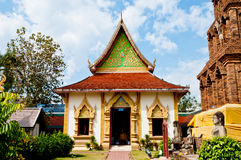 Landscape of Wat Phrathat Hariphunchai temple Royalty Free Stock Images